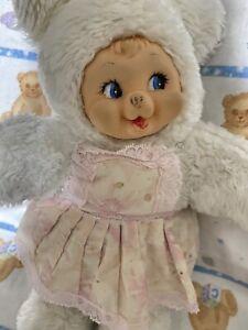 "Vintage Rubber Face Plush Bear 15"""