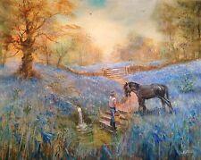 "NUOVO David Aldus ORIGINALE ""BLUEBELL PONY"" BLUEBELLS Foresta pittura ad olio"