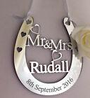 Personalised Wedding Mr & Mrs Good Luck Bridal Gift Lucky Keepsake Horseshoe H18