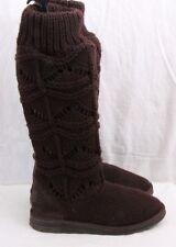 Muk Luks 6134  Brown Sweater Knitted Button Tall Slipper Boots Women's U.S. 8