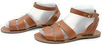 Tommy Bahama Womens Sz 7 Tan Leather Boho Hobo Flat Ankle Strap Sandals