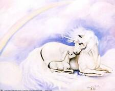 Unicorn Mother and Foal in Pastel Colors: 10x8 In. Fantasy Art Print