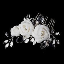 Spring White or Ivory Marquise Rhinestone Chiffon Rose Wedding Bridal Hair Comb