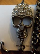 NEW Punk Rock Goth DARK Silver JEANS Chain CRYSTAL Skull Jeans Chain / Wallet