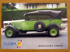 """CARTE POSTALE Voiture CITROËN """"AC4 F"""" 1929 téléthon 1999 Carte de Voeux vintage"""
