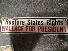 Vintage 1960's  HENRY WALLACE FOR PRESIDENT  Metal License Plate  States Rights