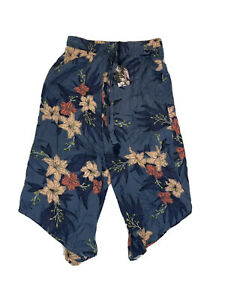 Midnight Bakery Women Blue Floral Casual Capri Cropped Drawstring Pants Size S