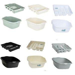 Set Of 2 Rectangular Washing Up Bowl And Large Dish Drainer Rack Plate Holder