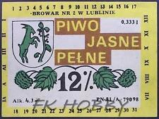 Poland Brewery Lublin Jasne Pełne Beer Label Bieretikett Etiqueta Cerveza lu43.2