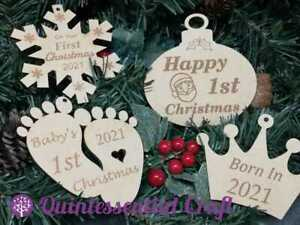 Wooden Baby's First Christmas Decoration Craft Blank Laser Cut MDF Personalised
