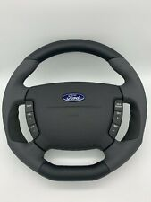 FORD / FPV BA-BF Falcon Genuine Steering Wheel Grey Leather Flat Bottom W/Suede