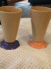 Set of 2 Pre-Owned Waffle Cone Ice Cream Sundae Glasses Parfait Dishes