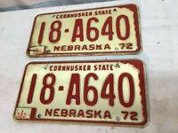 1972  NEBRASKA CAR LICENSE PLATE  PAIR  18-A640 Rat Rod Garage Deco