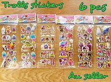 6 X TROLLS 3D PUFFY STICKERS TROLLS PARTY FAVOUR trolls loot bags Trolls party