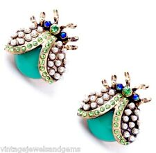 PERIDOT GREEN & BLUE AB Crystal Rhinestone Pearl & Gold Lady Bug Beetle Earrings