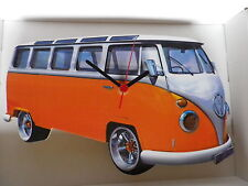 Orange Samba Design Classic VW Camper Van Wall Clock. New & Boxed