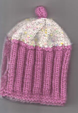 Hand Knitted Tea Cosy, Choice of 2, Red Daisy or Pink Cup Cake BN