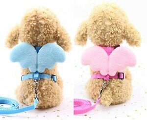 Dog Leash Adjustable Harness Puppy Leads and Collars Set Cute Angel's Wings XS S