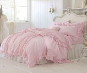 NIP Simply Shabby Chic Pink Ruffled King Duvet Cover & Shams Set 3pc