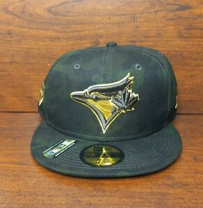 New Toronto Blue Jays New Era Fitted Hat 59FIFTY Army Salute to Service 7 1/2