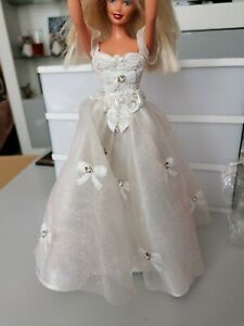 Barbie Doll 1991 In Custom. Wedding. Dress Ribbon Design