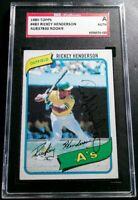 1980 Topps #482 Rickey Henderson SGC Cert Signed Autograph A's Rookie Card HOF