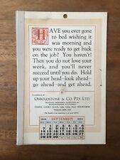 ANTIQUE SEPTEMBER 1924 CALENDAR OSBOLDSTONE CO MELBOURNE PRINTER VINTAGE CARD