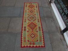 Vintage Kilim Traditional Hand Made Oriental Red Wool Kilim Runner 193x63cm