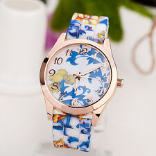 Women Girl Watch Silicone Printed Flower Causal Quartz WristWatches Blue
