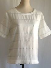 LOU & GREY NWT Cream Silver Striped Cotton Blend Short Sleeve Top Blouse Size L