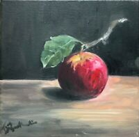 Print from oil painting on canvas APPLE dark contemporary realism red black grey