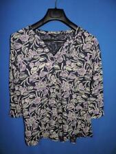 Lucky Brand 1X Blue Beige Purple Floral Shirt 3/4 Sleeve Cotton Modal Knit 1XL