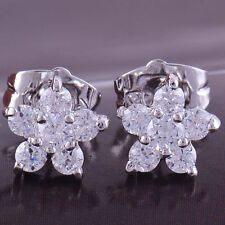 Beautiful New 9K White Gold Filled Cubic Zirconia Flower Set Stud Post Earrings