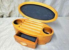 LEVENGER Oval Wooden Box Ink Pen Holder Case