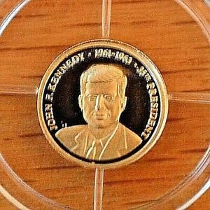 2009 Proof John F Kennedy 14k Mini Gold Coin -11mm with COA and Pouch