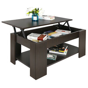 Lift-up Coffee Table Hidden Storage Cabinet Compartment Longlasting Brown Finish