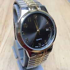 Vintage Accutime Men Classic Dual Tone Analog Quartz Watch Hour~Date~New Battery