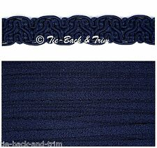 5 Metres of 8519 Silky Braid Gimp 15mm Trimmings Upholstery Craft Edging Trim 486 Dark Blue (navy)