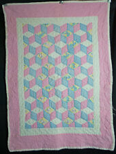 1950's Patchwork Crib Quilt Tumbling Block Hand Stitched And Machine Sewn