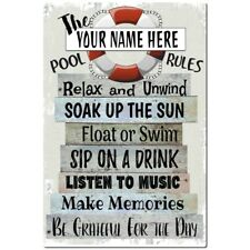 Pool Rules Metal Sign - Beach Decor - Pool Decor - Pool Sign -Name Customizable