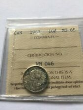 1963 Canada 10 Cents Silver Coin ICCS Certified MS-65 -Toned
