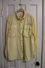 Men's All American Fisherman Long Sleeve Button Down Fishing Shirt Yellow Vented