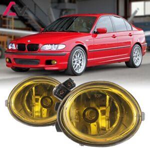 For BMW E46 01-06 Yellow Lens Pair Bumper Fog Light Lamp Replacement Bulb