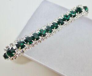 "Vintage style silver plate green clear rhinestone crystal bracelet 7""  18cms"