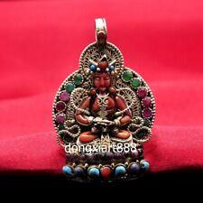 Tibet pure silver inlay coral niche for Buddha Amitayus shrine Amulet Pendant