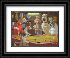 Hey! One Leg on the Floor / Dogs Playing Pool 2x Matted 24x20 Framed Art
