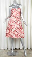 CAROLINA HERRERA Womens Red+White Embroidered Floral Strapless Cocktail Dress 12