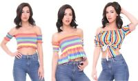 Crop Top Bardot Rainbow Stripe Shirred Frill Hem Shirt Cropped Tops UK Womens