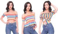 Womens Crop Top Bardot Rainbow Stripe Shirred Frill Hem Shirt Cropped Tops UK