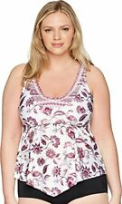 MSRP $98 Becca by Rebecca Virtue Plus Size Tahiti Tankini Multi 2X Size